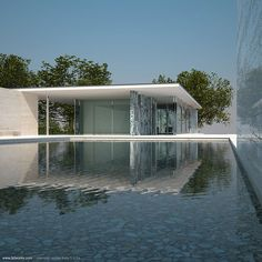 So right, so pure, so perfect Barcelona Pavilion, Minimal Architecture, Roof Window, Nice View, Living Area, Minimalism, Marble, Museum, Houses