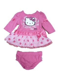 Hello Kitty Infant Girls Pink Polka Dot Ruffled Lace Dress 2 Piece Outfit 0-3m. Pretty Hello Kitty Pink Polka Dot Ruffled Dress Outfit. Infant Sizes.