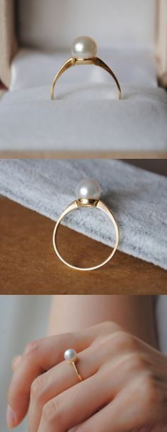 simple pearl ring perfect without the diamonds Cute Jewelry, Pearl Jewelry, Gold Jewelry, Jewelry Rings, Jewelry Accessories, Jewelry Design, Pearl Rings, Pearl Bracelets, Pearl Necklaces