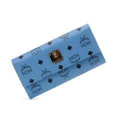 MCM Large Heritage Visetos Trifold Wallet In Washed Blue