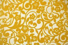 Flock Retro Wallpaper- 1970s Vintage Wallpaper -  Flocked Yellow Floral on Gold