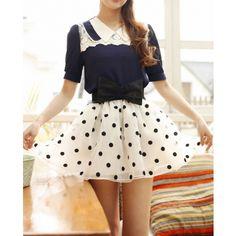 Polka Dot Bow Belted Women Skirt