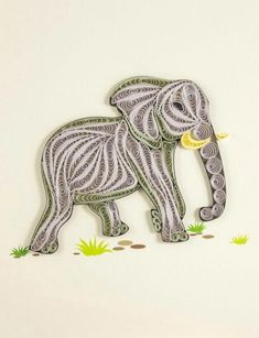 Quilling Designs, Paper Quilling, Elephant Artwork, Brooch, Simple, Carbon Filter, Crafts, Elephants, Jewelry