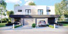 Projekt bliźniaka HomeKoncept-52 D o pow. 188,62 m2 z garażem 1-st., z dachem płaskim, z tarasem, sprawdź! Home Fashion, Ideas Para, Sweet Home, Mansions, House Styles, Outdoor Decor, Design, Home Decor, Plans