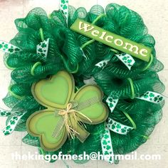 Create your own St Patrick's Mesh Wreath or order yours at: thekingofmesh@hotmail. com - Introducing my newest #meshwreath from latest #StPatricks collection. I got all my supplies at @MichaelsStores #craftssupplies #decomesh #custom #mesh #michaelsstores @thekingofmesh #homedecor #polydecomesh #green #shamrock