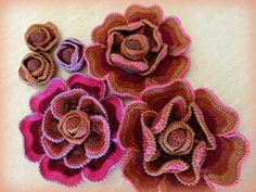 ergahandmade: Crochet Flowers + Diagrams + Step By Step Tutorials