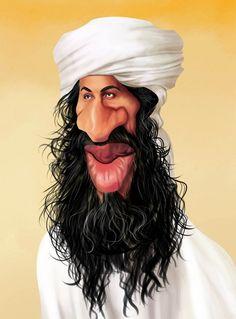 Caricatura de Osama bin Laden.