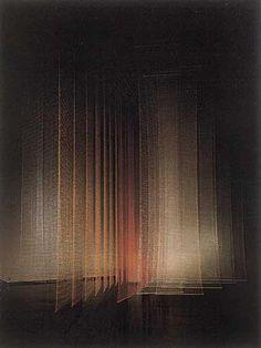 """Toshiko Horiucchi, """"Luminous Column"""". Materials: Nylon Mylar. Techniques: Hand Knitting, Crochet. - exhibition, Tokyo Metropolitan Art Museum. 1987. © Toshiko Horiuchi Macadam."""