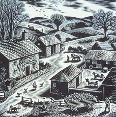 Gwenda Morgan, Downland Farm, 1949, wood engraving on paper