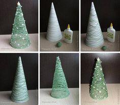 DIY Christmas tree: Crochet thread and glue!