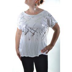 Tričko so strieborným vzorom - biele Tunic Tops, Women, Fashion, Moda, Fashion Styles, Fashion Illustrations, Woman