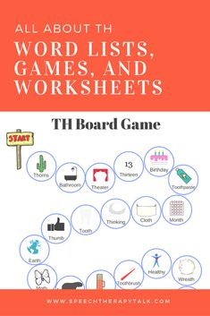 TH speech therapy materials. Word lists, cues, games, and worksheets all made by a speech language pathologist. Th Words, Sight Words, Speech Pathology, Speech Therapy, Phonological Processes, English Games, Articulation Activities, Speech And Language, Clinic