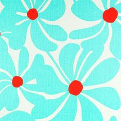 Premier Prints Fabric- Twirly Collection - Harmony/Twill -Turquoise and Red Floral Home Decor Fabric