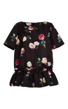 No. 21 Floral Printed Blouse with Ruffled Bottom
