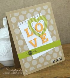 I Love You Card by Nichole Heady for Papertrey Ink (December 2012)