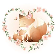 Baby Animal Drawings, Cute Drawings, Watercolor Flower Background, Floral Watercolor, Floral Illustrations, Cute Illustration, Cute Images, Cute Pictures, Doodles Bonitos
