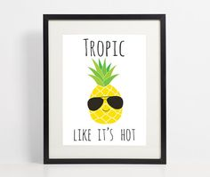 A tropical inspired print featuring an illustration of a pineapple and the pun tropic like its hot. This would make a lovely birthday card or a great piece of wall art to display in your home if you want that holiday or summer feeling!  Instant download 5 files included: - a4 pdf and jpeg - 8x10 pdf and jpeg - Greetings card layout pdf  Print at home straight away! Frames not included  You will receive an email from Etsy to download this artwork immediately - no item will be shipped.  Please…