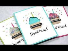 Cupcake Window Cards, 3 Ways - March Card Kit Release! Birthday Surprise For Husband, Happy Birthday Friend, Happy Birthday Images, Happy Birthday Greetings, Cupcake Card, Diy Cupcake, Window Cards, Mft Stamps, Birthday