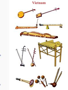 VIETNAM. Left/Right, Up/Down 1.- Dan Nguyet: chordophone / lute family. 2.- Dan Dai: chordophone / lute family 3.-Dan Bau: chordophone / zither family. 4.- Bro: chordophone / zither family. 5.- Dan Tranh: chordophone / zither family. 6.- Dan Co: chordophone / bowed string instrument  7.- Dan Gao: chordophone / bowed string instrument. 8.- Klongput: aerophone. 9.- Sanh Sua: idiophone. 10.- Mo (chun mo): percussion. 11.-   idiophone / wooden percussion. 12.- M'buot: aerophone / free reed
