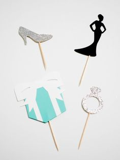 Breakfast at Tiffany's cupcake toppers by PaperHeartedGirl on Etsy