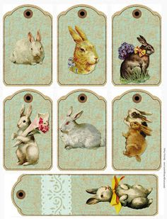 Easter Bunny Bookmark and Tags to Print - Good for hanging on Easter baskets, too - free printable scrapbooking images