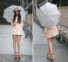When it rains, put on a smile, & some neon colors :) (by Mayo Wo) http://lookbook.nu/look/1610907-when-it-rains-put-on-a-smile-some-neon-colors