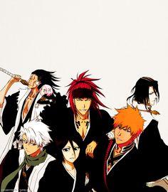 Zaraki Kenpachi, Kusajishi Yachiru, Histugaya Toshiro, Abarai Renji, Kuchiki Rukia, Kuchiki Byakuya, & Kursosaki Ichigo