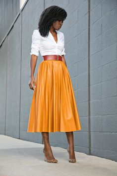 Style Pantry | Button Down Shirt + Faux Leather Pleated Midi Skirt