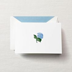 Hand Engraved Blue Hydrangea Note | Boxed Note Cards | Crane.com