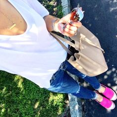 IG @mrscasual <click through to shop this outfit> Basic White Tee ($12) Pink espadrilles