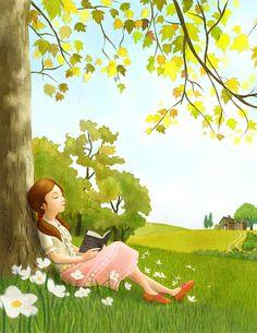 - illustration by YoonJae Lee, via picturebook-illust Girl Reading Book, Reading Art, Reading Cartoon, Children Reading, Girly Drawings, Cute Illustration, Anime Art Girl, Cartoon Art, Cute Art