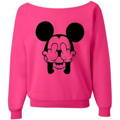 Mickey Sweatshirt Mickey Mouse Shirt PINK off the shoulder slouch jumper wide neck boat neck all sizes ($24) found on Polyvore