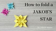 In this video you will learn how to fold a JAKOB'S STAR by designer Jakob Maier. The JAKOB STAR is made from a hydrangea base by Shuzo Fujimoto. Origami Wall Art, Origami Quilt, Origami Paper Folding, Origami And Kirigami, Paper Crafts Origami, Origami Stars, Oragami, Diy Origami Earrings, Origami Ornaments