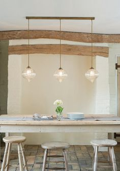 Dining room: Triple Pendant Lights by at{Jim Lawrence} Dining Table Pendant Light, Lights Over Dining Table, Dining Room Light Fixtures, Dining Room Lighting, Dining Room Table, Kitchen Dining, Dining Area, Jim Lawrence Lighting, Small Pendant Lights