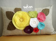 Sukan / Color Flowers Pillow Cover  12x20 by sukan on Etsy, $55.95 or I can make it for 1/2 the price