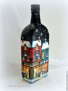 Lighting handmade.  Bottle-Light-2 Christmas miracle Decoupage.  Christmas House.  Elena Sukhotina handmade decoupage.  Fair Masters.
