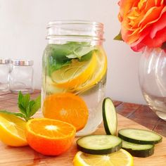 My natural belly slimming detox water! 1-2 Liters water, 1 cucumber, 1 lemon, 1 orange, 10-15 fresh mint leaves, handful of ice.