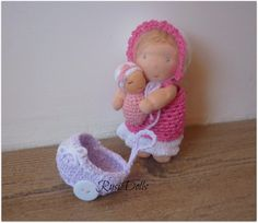 5 Waldorf Doll 2 inch baby and crocheted baby by RusiDolls on Etsy, $68.00