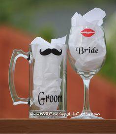 Lip & Mustache Bride and Groom Wine Glass/Beer by MREdesignsLLC, $22.00