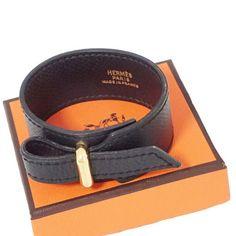 Hermes Gold Metal Leather Bracelet