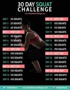 Complete the 30 Day Squat Challenge this month and tone up your leg and butt muscles like never before. This workout from 30 Day Fitness Challenges is ace. 30 Day Fitness, Fitness Diet, Fitness Motivation, Health Fitness, Body Fitness, Fitness Quotes, 30 Day Squat Challenge, Challenge Accepted, Splits Challenge