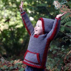 Crochet pattern, crochet childrens sweater, boys hoodie, girls hoodie, hooded vest for children, crochet, easy pattern, zipper or by ktandthesquid on Etsy https://www.etsy.com/listing/213555880/crochet-pattern-crochet-childrens