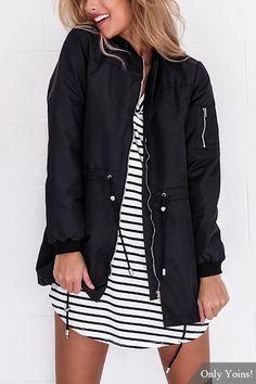 Black Fashion Long Sleeves Zip Front Closure Jacket