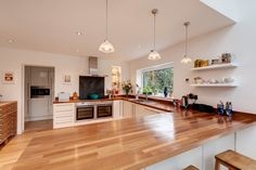 Kitchen interior with Oak counter