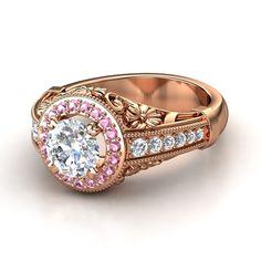 Round Diamond 14K Rose Gold Ring with Pink Tourmaline & Diamond - Primrose Ring