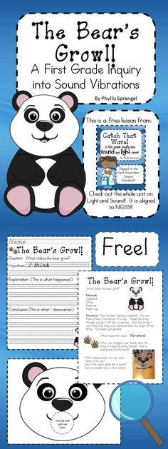 """The Bear's Growl, a First Grade Inquiry into Sound Vibrations"" is a free lesson on sound vibrations. Students will build a bear that makes a growling sound when they pull on the string! This is a fun and easy lesson for teachers to use! Free!"
