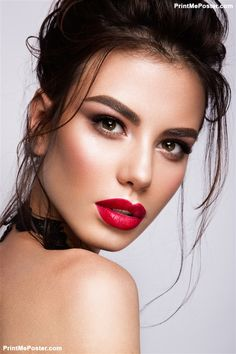 Beauty Model With Bright Eyebrows Perfect Make Up Red Lips Touching Her Face Y Lady Makeup For Party Poster