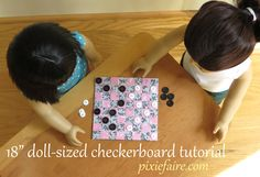 How to make an 18 inch doll checkerboard using fabric and Mod Podge - FREE tutorial - Pixie Faire