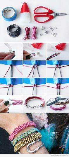 Bracelet amitié DIY câble et fil queue de rat