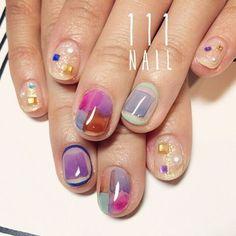 キュートカラー✨◼️◽️▪️ #nail#art#nailart#ネイル#ネイルアート水彩ネイル#クリアネイル#brown#磨りガラス#ショートネイル#ネイルサロン#nailsalon #表参道